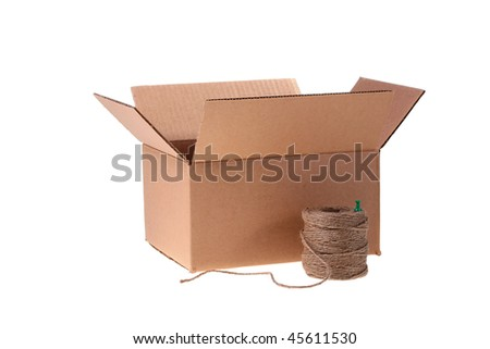 Cardboard box and cord for packing on a white background.
