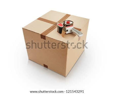 Cardboard box and packing tape - stock photo