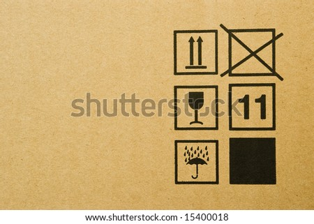 cardboard box background with mail symbols