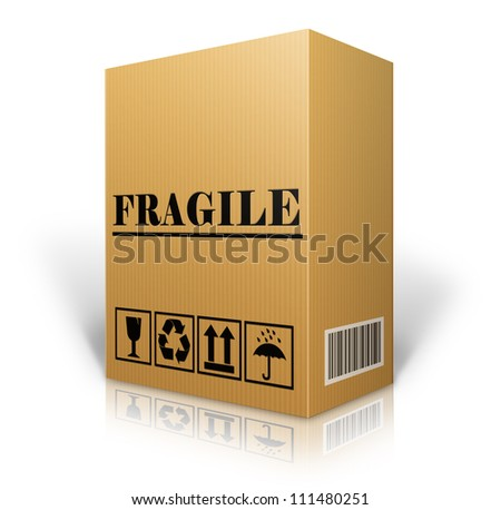 cardboard box blank for shipping order moving or storage with labels and bar code ,Fragile