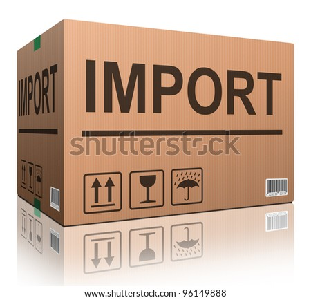 cardboard box blank with copy space and isolated on white brown package for shipping order moving or storage with labels and bar code closed and sealed