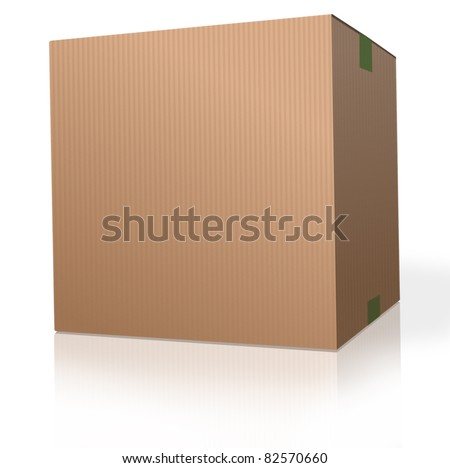 cardboard box brown carton package on white background parcel for moving storage, shipping orders from web shop.  With reflection. - stock photo