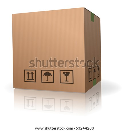 cardboard box carton container with reflection isolated on white - stock photo