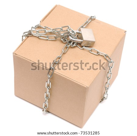 cardboard box closed with a chain and a lock on a white background - stock photo