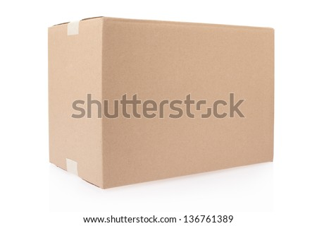 Cardboard box closed with tape isolated on white, clipping path