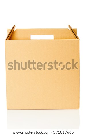 Cardboard box closeup on white background