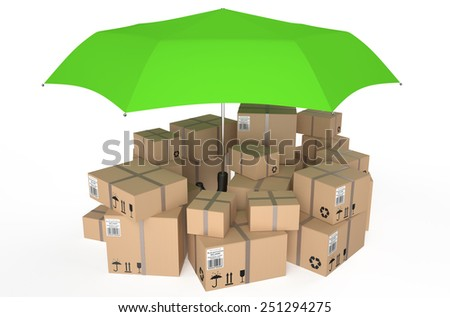 cardboard box covered by green umbrella isolated on white background - stock photo