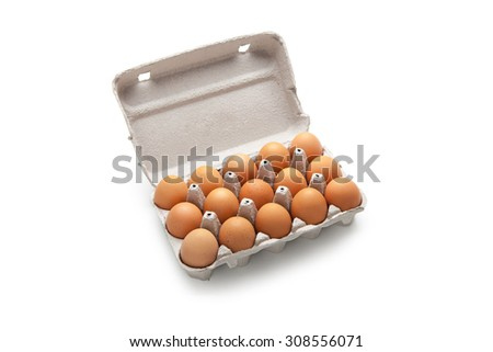 Cardboard box for fifteen eggs - stock photo