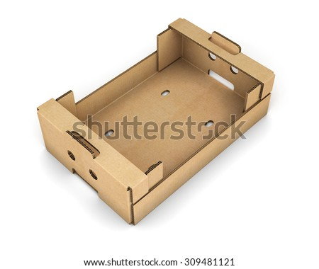 Cardboard box for fruit and vegetables isolated on white background. 3d illustration. - stock photo