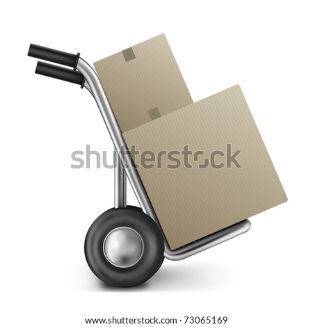 cardboard box hand truck two brown boxes on trolley with copy space image for online internet shopping delivery and shipping of shop or store order and sending package isolated logistics empty space