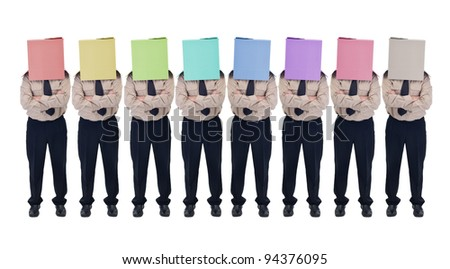 Cardboard box head businessman or politician in row - illusion of choice concept, isolated - stock photo