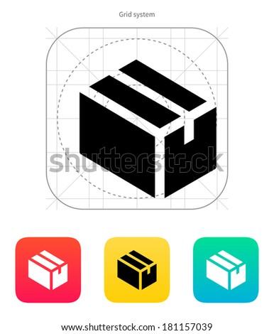 Cardboard box icon. - stock photo