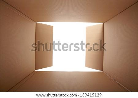 Cardboard box, inside view - stock photo