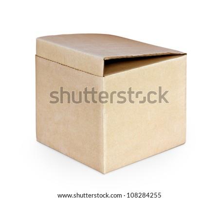 cardboard box isolated - stock photo