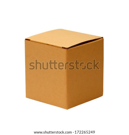 cardboard box isolated - stock photo
