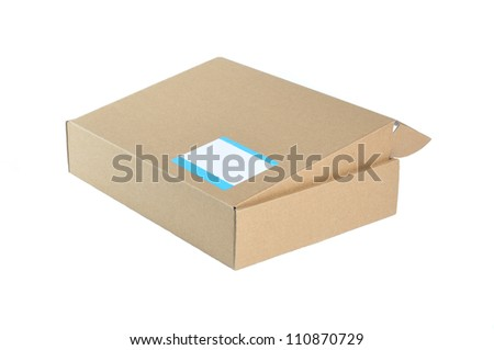 cardboard box isolated and label note on a box. - stock photo