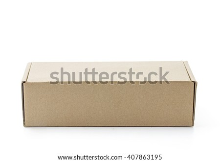 Cardboard Box isolated on a white background, clipping part - stock photo
