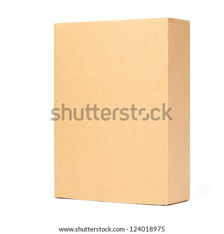 Cardboard Box isolated on a White background with clipping path. - stock photo