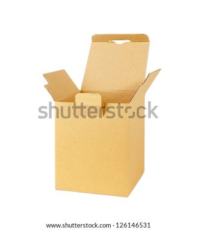 cardboard box isolated on white - stock photo