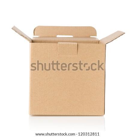 cardboard box isolated on white background - stock photo