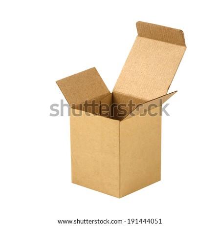 Cardboard box isolated on white background. - stock photo
