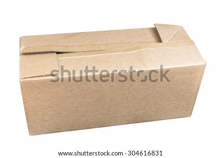 Cardboard box isolated on white background.