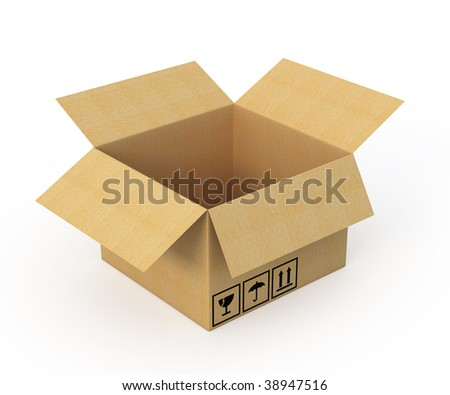 Cardboard box isolated on white background - 3d render