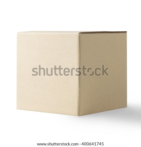 Cardboard Box Isolated on White Background with clipping path - stock photo