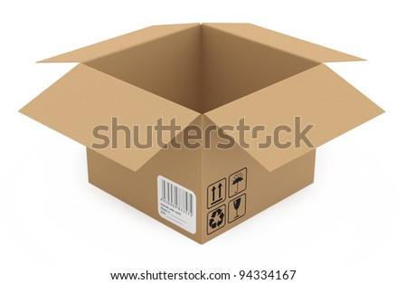 Cardboard box isolated on white. 3D model - stock photo
