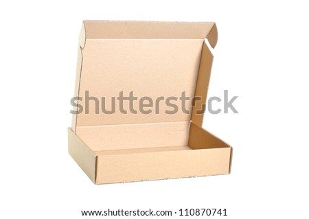 cardboard box isolated open on white background. - stock photo