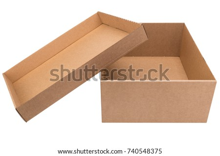 Cardboard box isolated. Shoe box. Cardboard packaging.