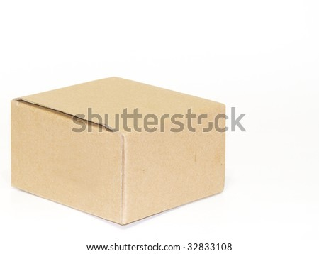 cardboard box isolated white backround - stock photo