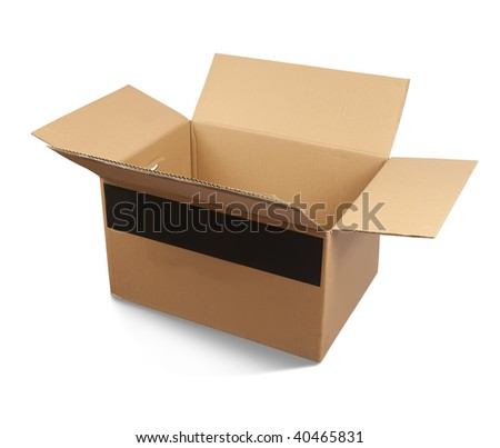 Cardboard box, isolated with clipping path over white background