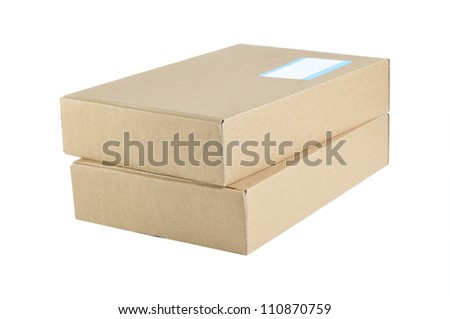 Cardboard box isolated with label note on white background.