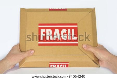Cardboard Box Marked Fragile - stock photo