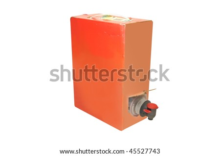 cardboard box of wine with the crane under the white background - stock photo