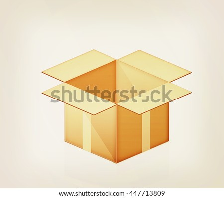 Cardboard box on a white background. 3D illustration. Vintage style.