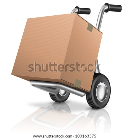 cardboard box on sack hand truck with copy or empty space isolated on white concept for online internet web shop or storage and moving or relocation box - stock photo