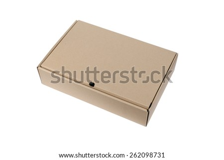 Cardboard Box or brown paper box isolated on White background