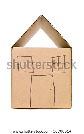 Cardboard Box painted as a house - stock photo