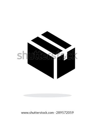 Cardboard box simple icon on white background. - stock photo