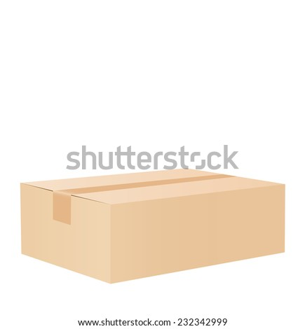 Cardboard box taped up and isolated on a white background. - stock photo