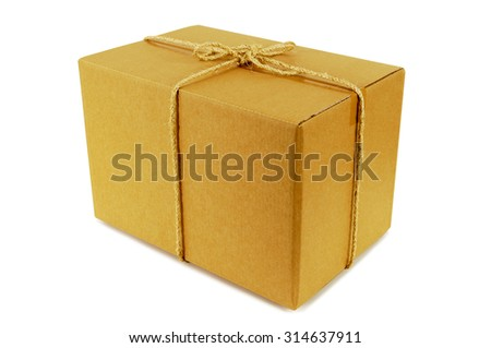 Cardboard box tied with rope, side view, isolated