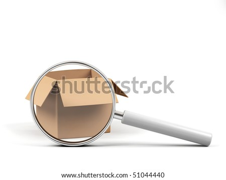 Cardboard box under magnifying glass on white background. - stock photo