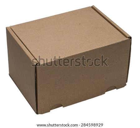 Cardboard box upside with isolated on white. No shadow. - stock photo