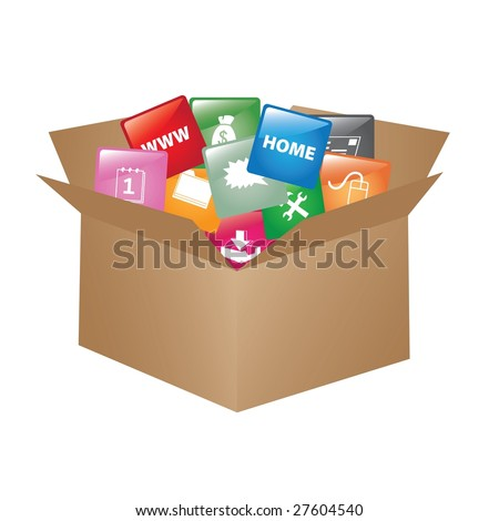 Cardboard box whit web buttons / promotional box - stock photo