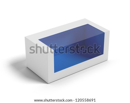 Cardboard Box with a transparent plastic window. - stock photo