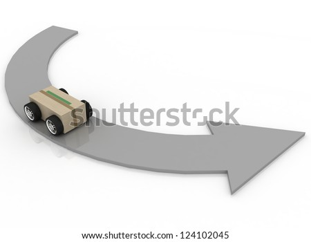 cardboard box with car wheels. Concept of logistics, delivery and shipping - stock photo