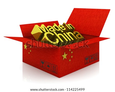 Cardboard box with Chinese flag and words - stock photo
