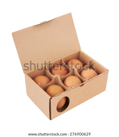 Cardboard box with eggs, isolated on white background - stock photo